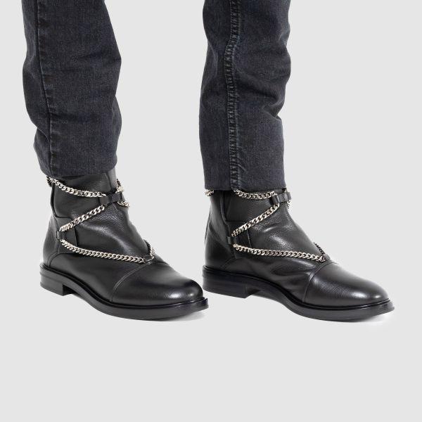 Ботинки флет на меху Casadei черные