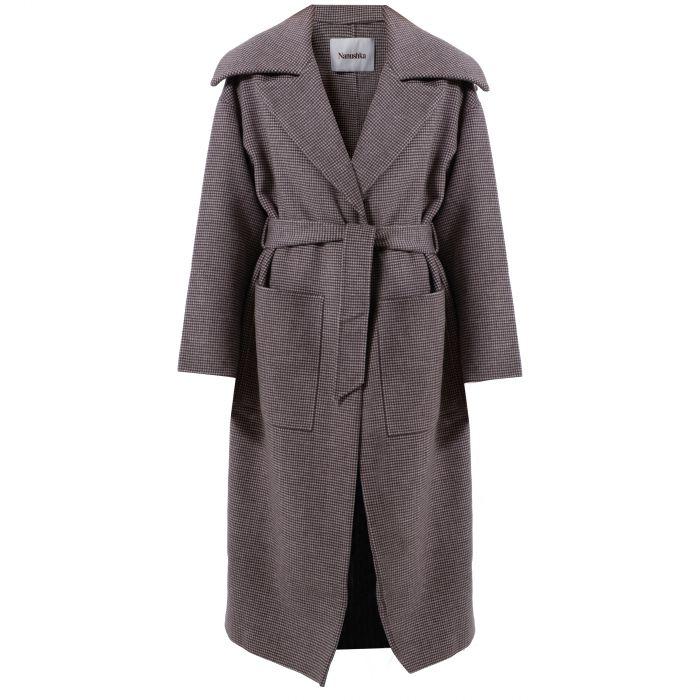Пальто Nanushka Soa коричневое