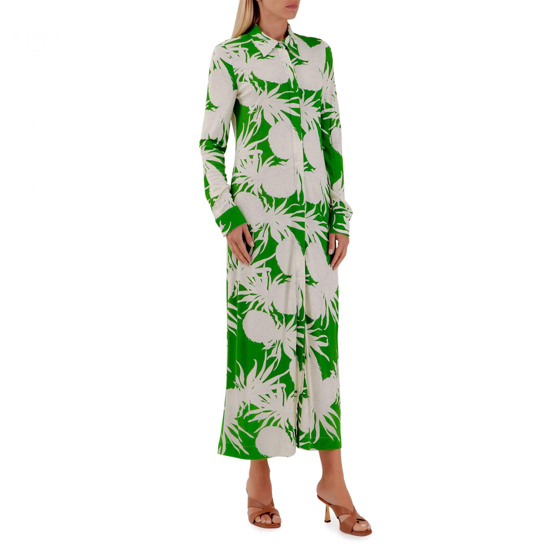 Платье Oscar de la Renta бело-зеленое