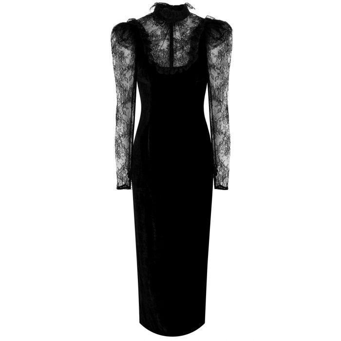 Платье длинное Alessandra Rich черное