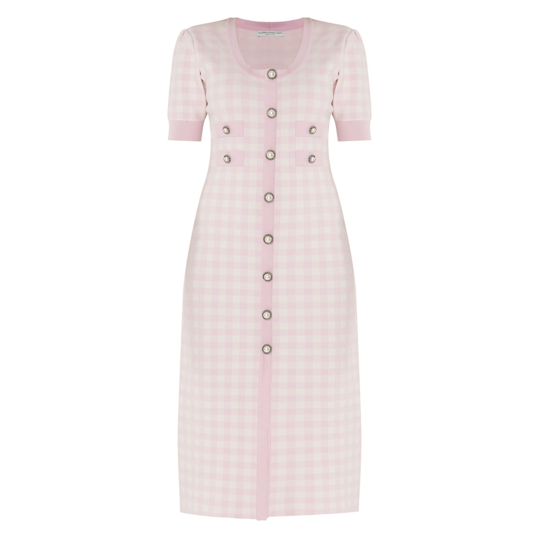 Платье Alessandra Rich бело-розовое