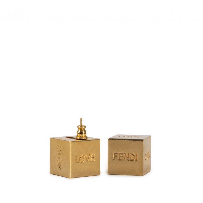 Серьги Fendi Signature золотые