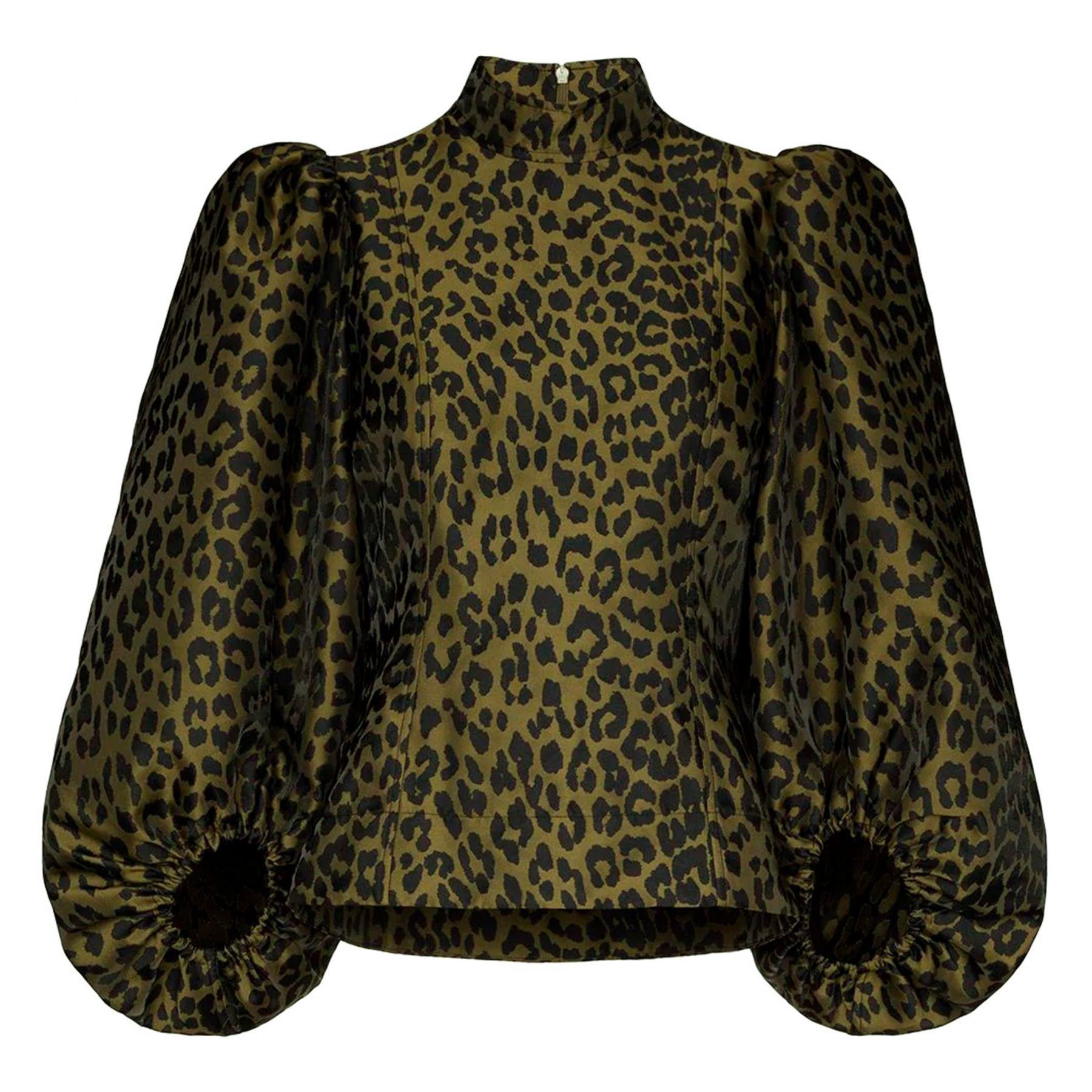 Блуза Ganni темно-зеленая