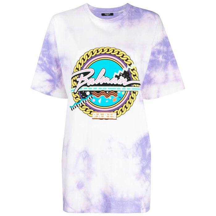 Футболка Balmain фиолетово-белая