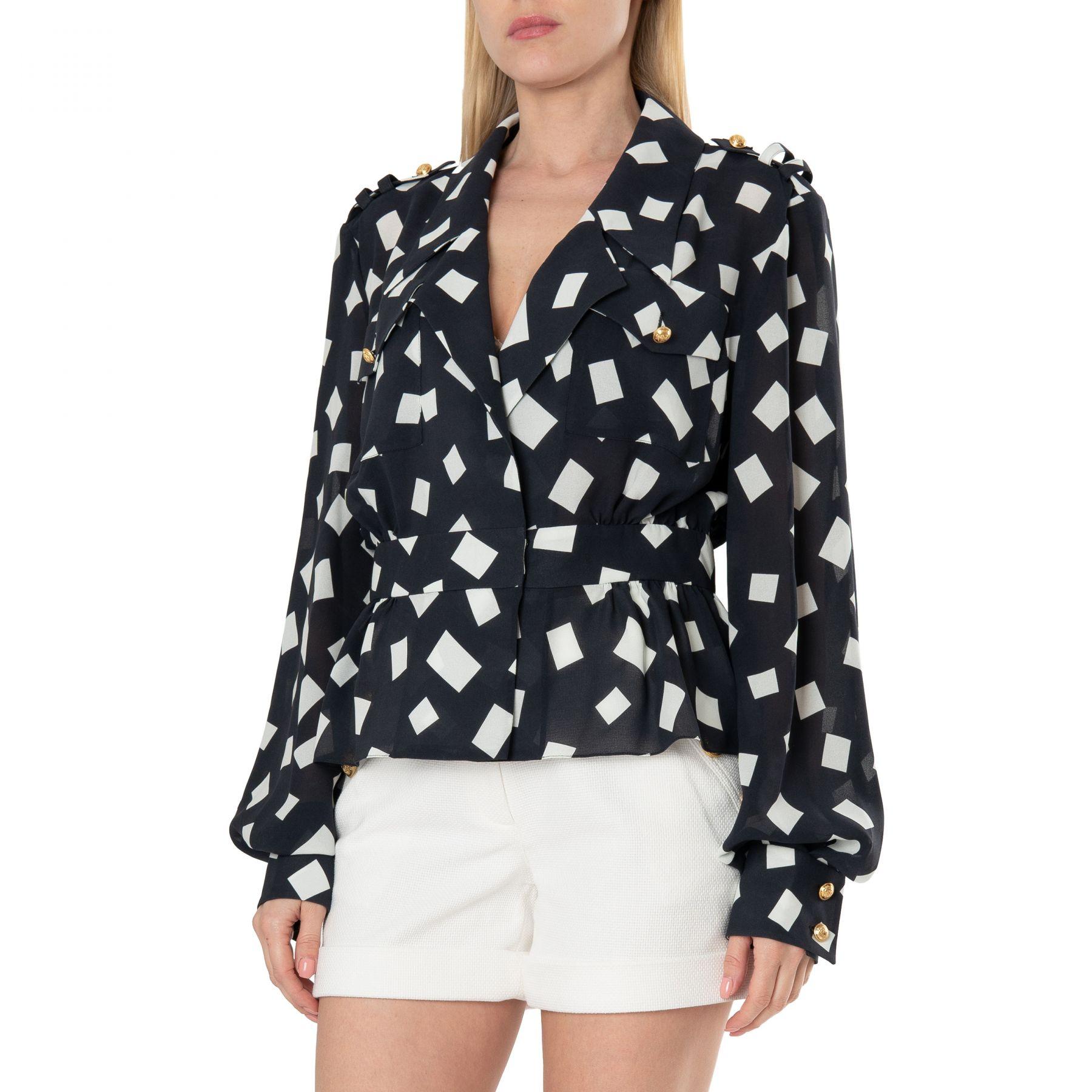 Блуза Balmain черно-белая