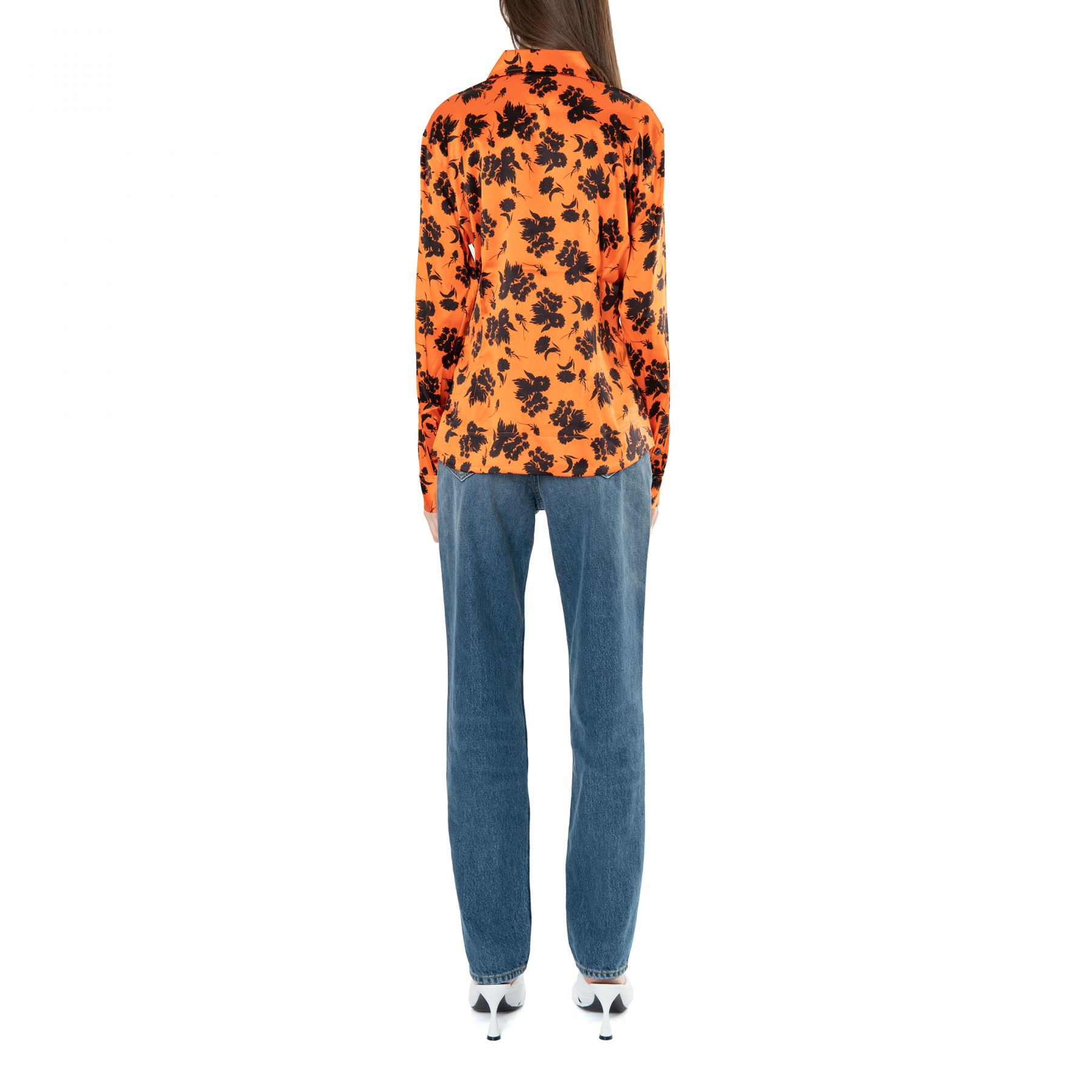Рубашка с длинными рукавами Ganni оранжевая