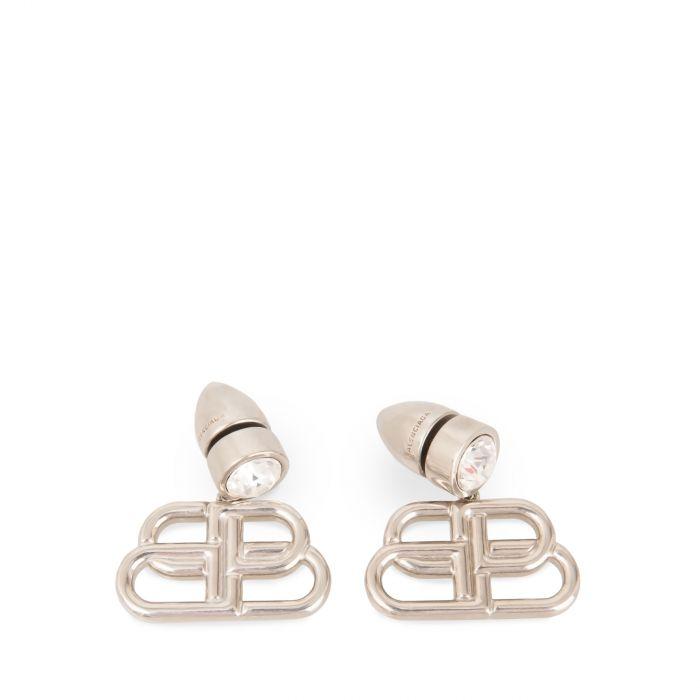 Серьги Balenciaga BB Stud серебряные