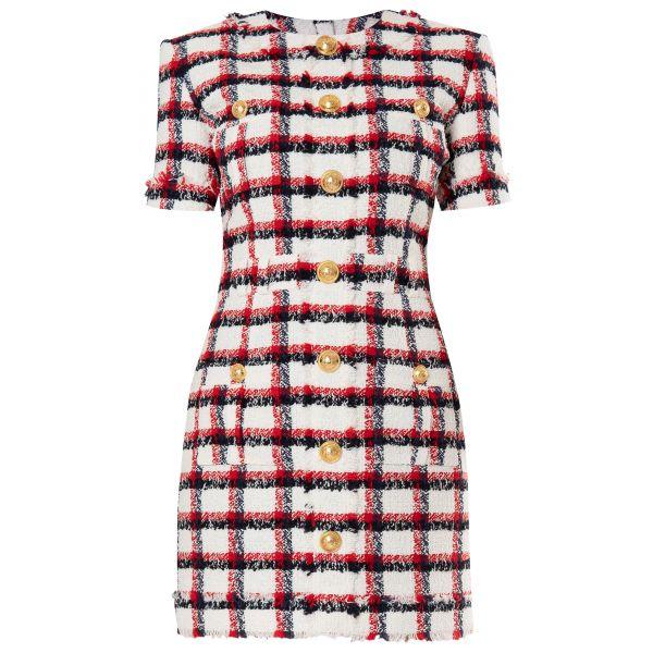 Платье Balmain красно-белое