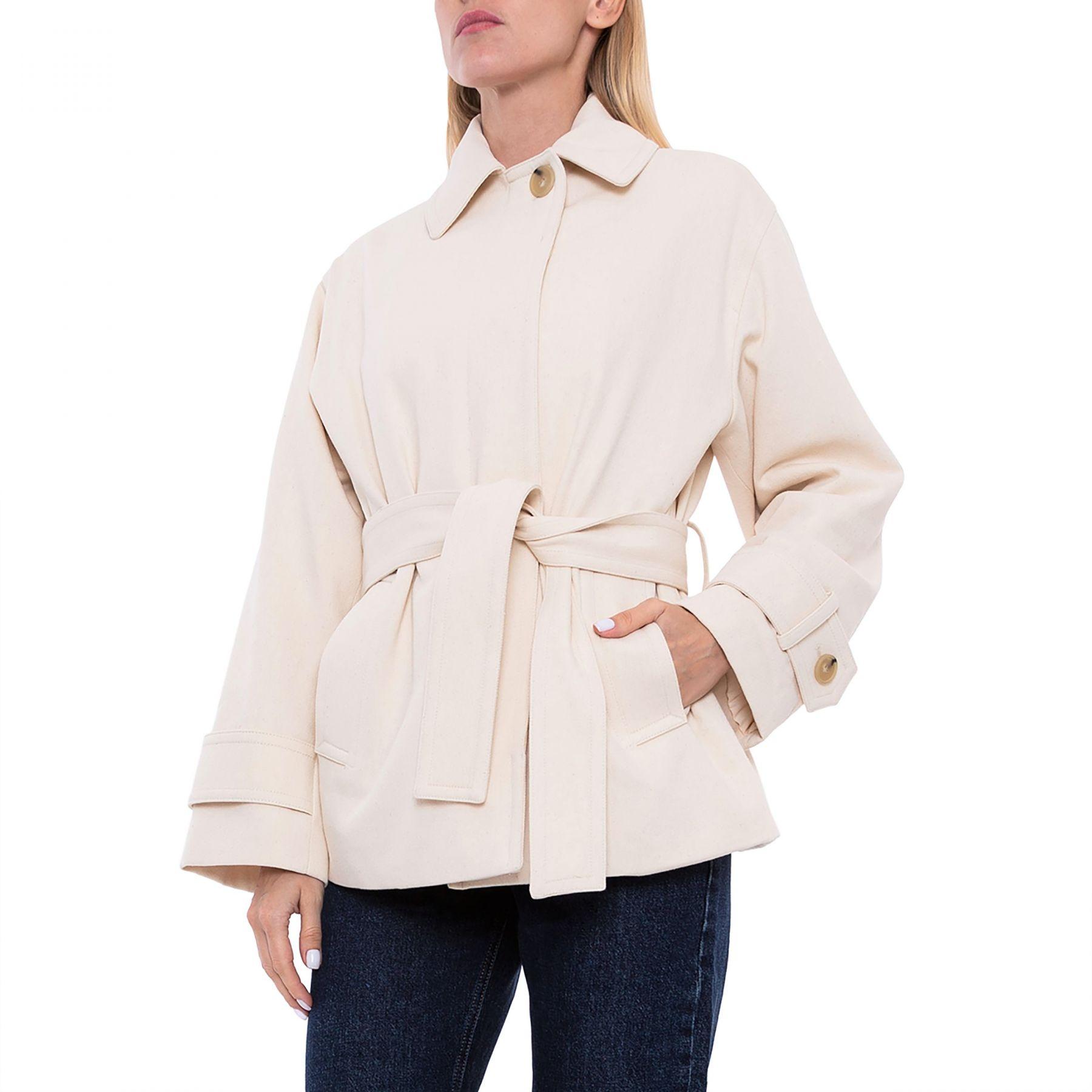 Пальто Vince бело-бежевое