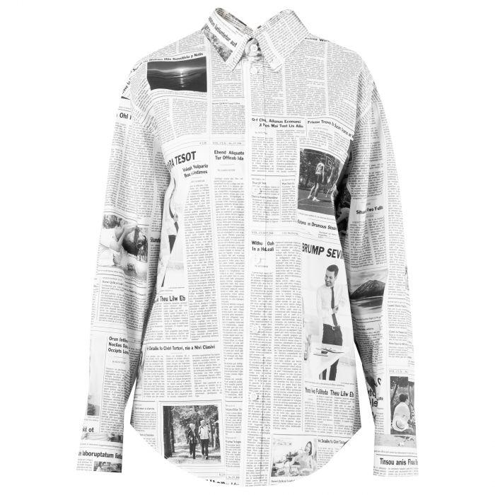 Рубашка длин.рук. Balenciaga черно-белая