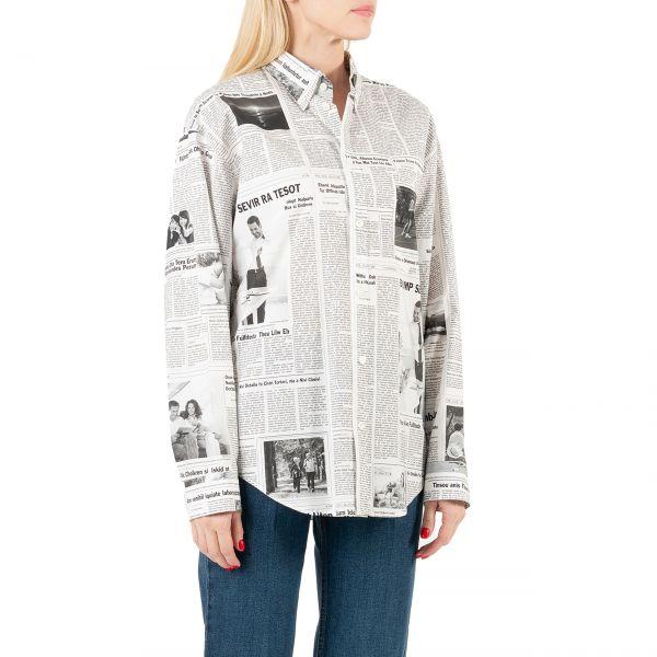 Рубашка с длинными рукавами Balenciaga черно-белая