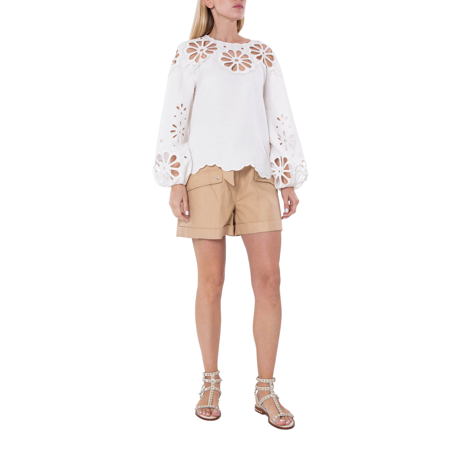 Блуза Jonathan Simkhai Sora Anglaise белая