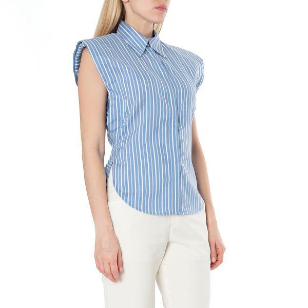 Рубашка с короткими рукавами Isabel Marant Enza голубая