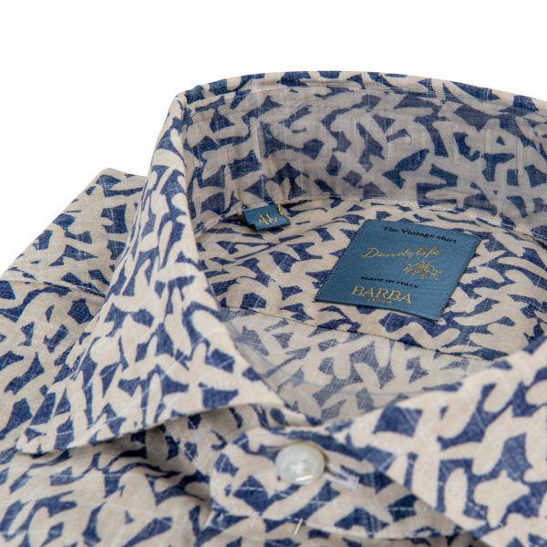 Рубашка с длинными рукавами Barba Napoli бело-фиолетовая