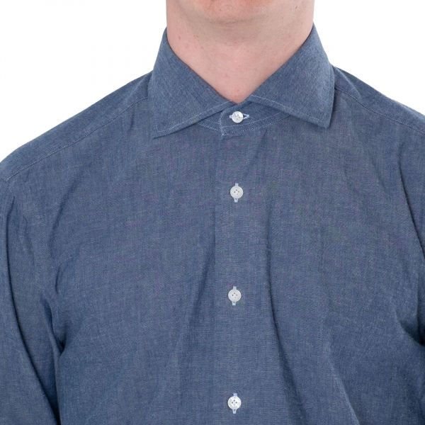 Рубашка с длинными рукавами Barba Napoli голубая