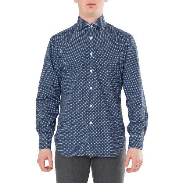 Рубашка с длинными рукавами Barba Napoli сине-белая