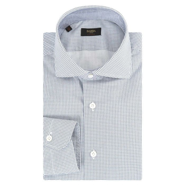 Рубашка с длинными рукавами Barba Napoli бело-синяя