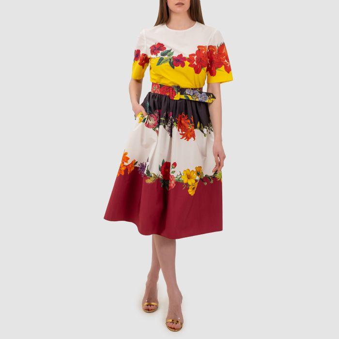 Платье Oscar de la Renta Floral Calligraphy разноцветное