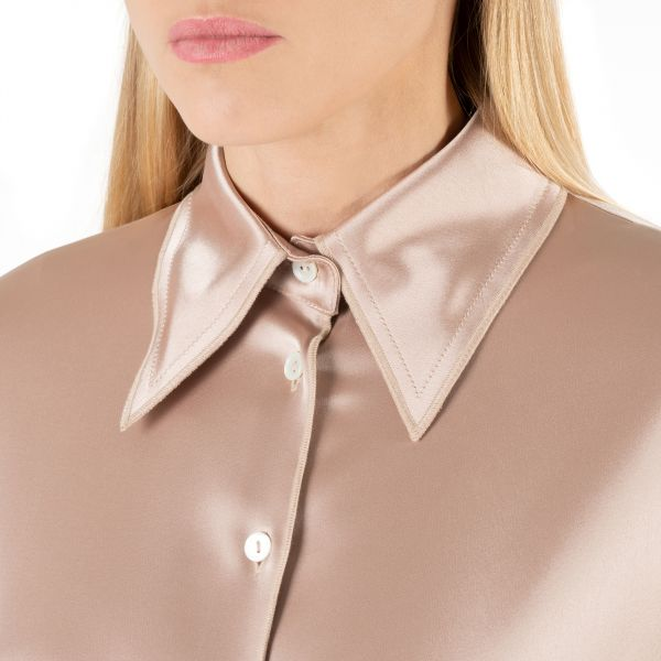 Рубашка с длинными рукавами Nanushka Mandine пудровая