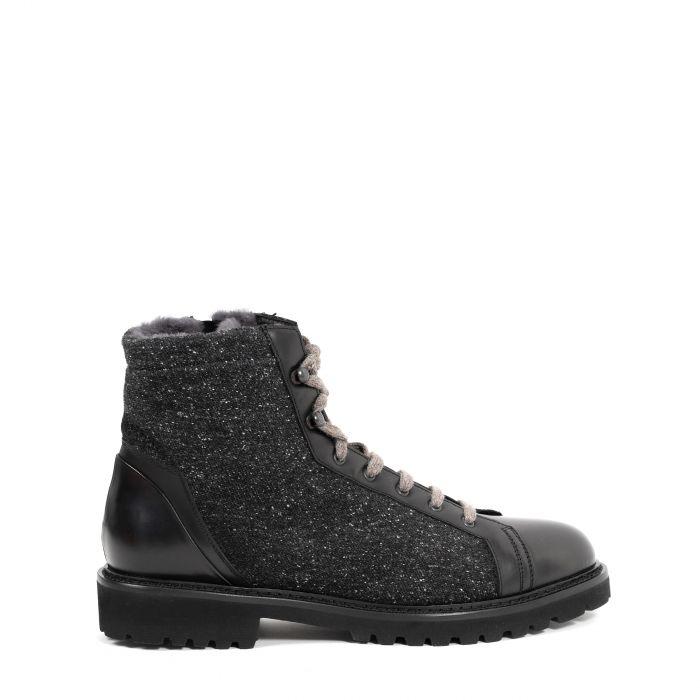 Ботинки на меху Doucal's черно-серые