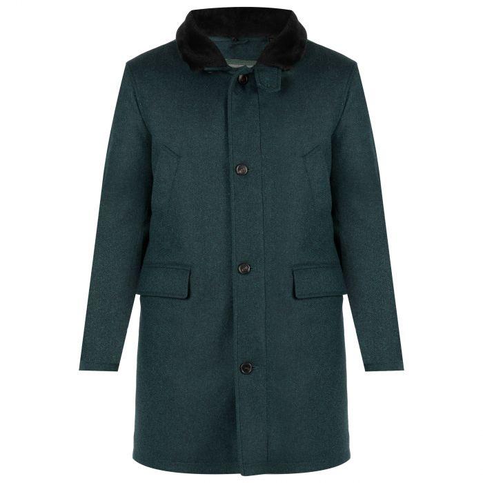 Пальто Luigi Borrelli зелено-голубое
