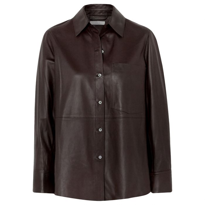 Рубашка длин.рук. Vince шоколадная