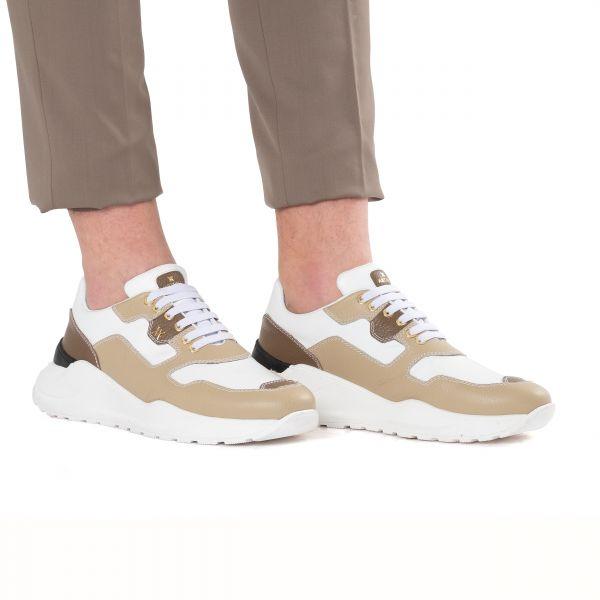 Кроссовки Artioli бело-коричневые