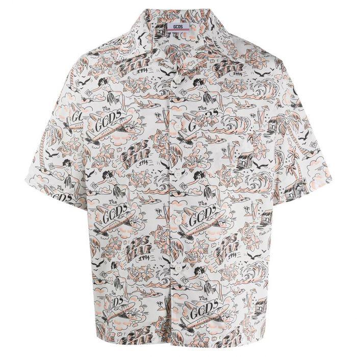Рубашка с короткими рукавами GCDS белая