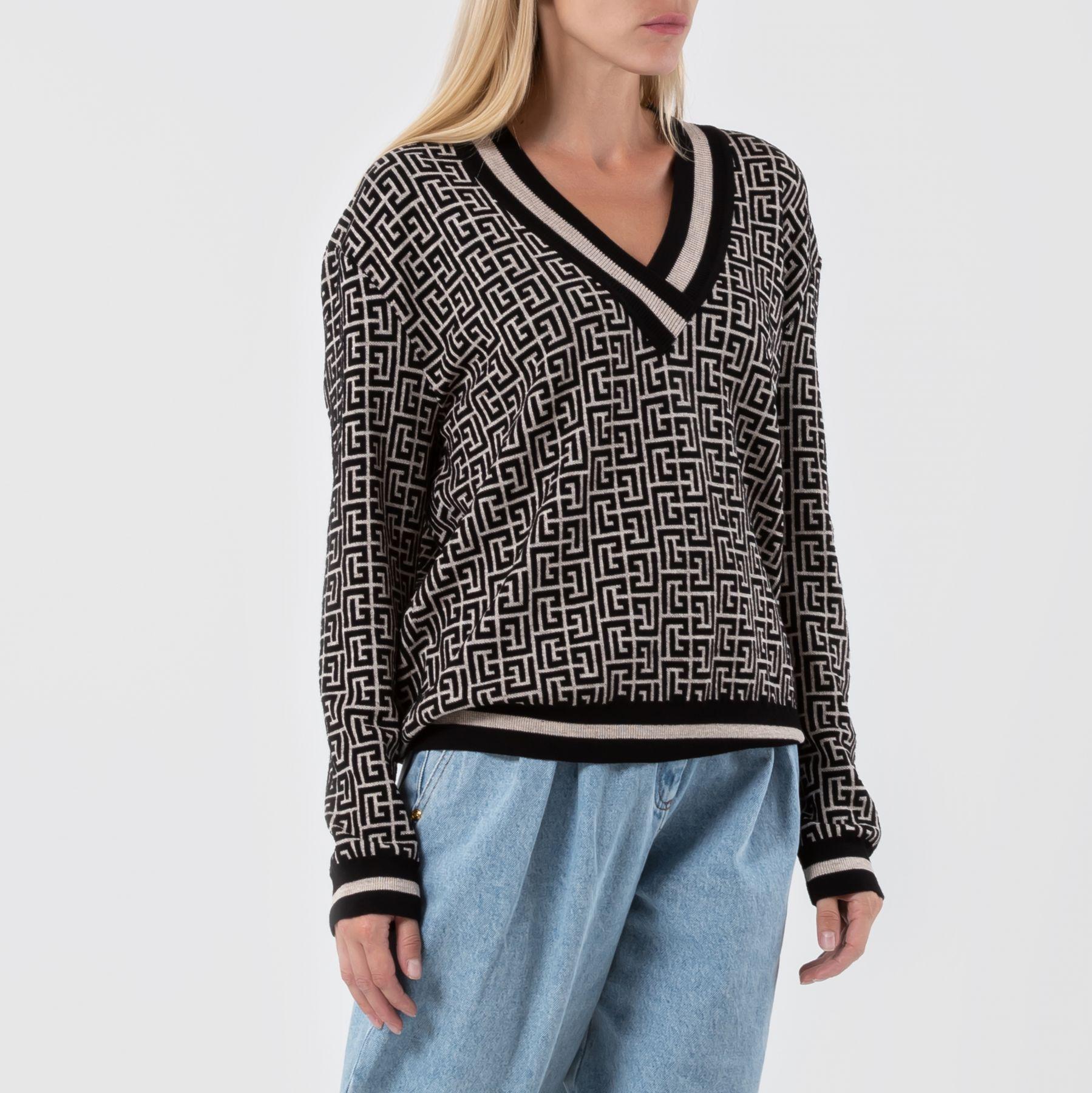 Пуловер Balmain черно-бежевый