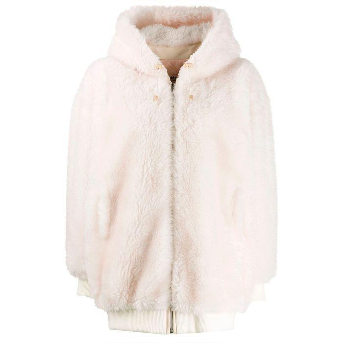 Куртка меховая Yves Salomon бело-розовая