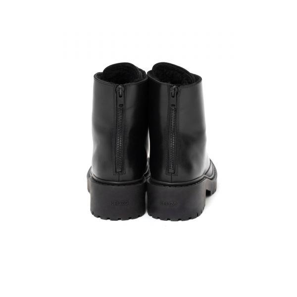 Ботинки флет на меху Kenzo Pike черные