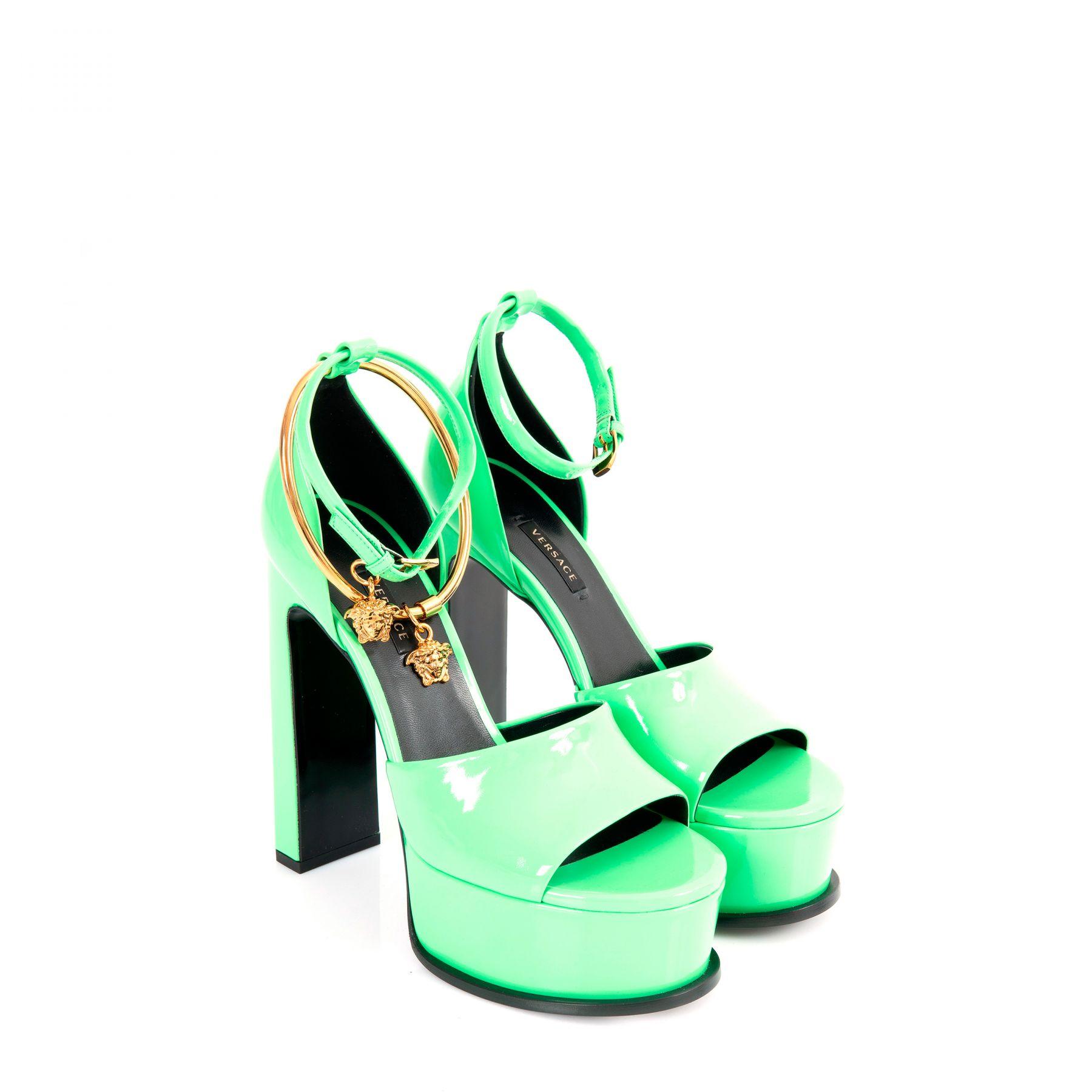 Босоножки Versace MEDUSA AETERNITAS зеленые