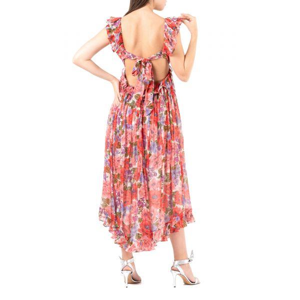 Платье Zimmermann POPPY розово-красное