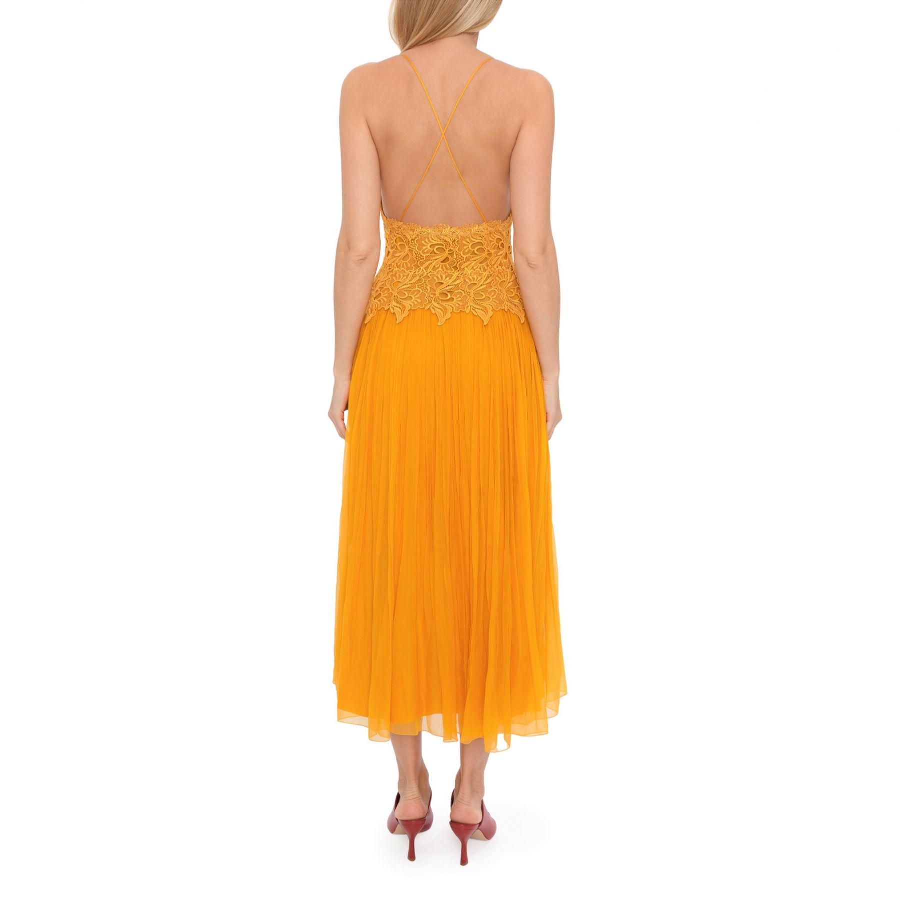 Платье Alberta Ferretti Longuette желтое