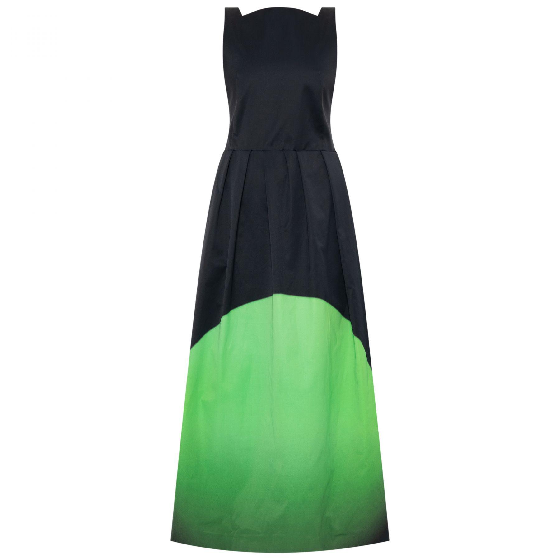 Платье Dries Van Noten черно-зеленое
