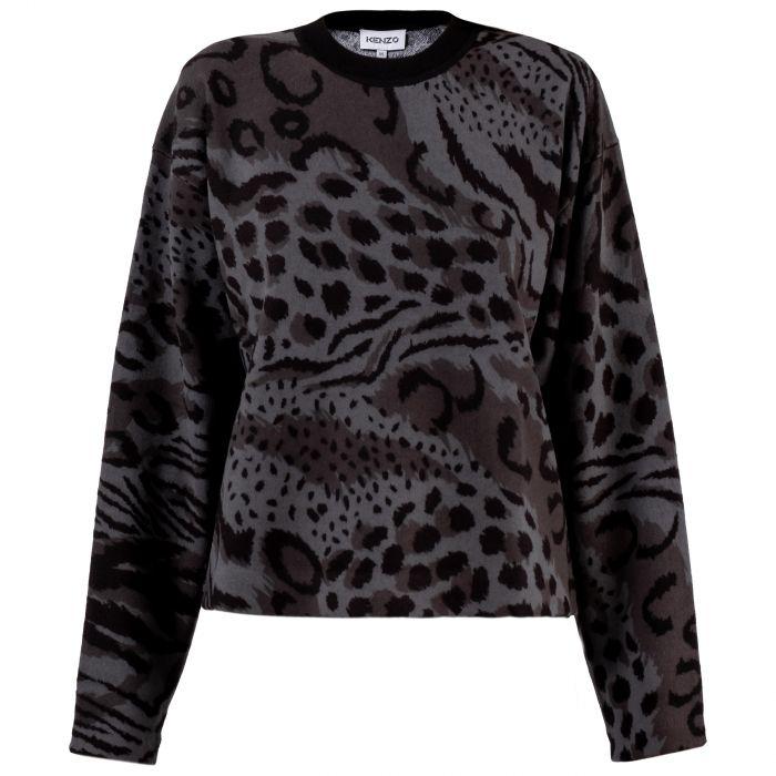 Свитер Kenzo Archive Leopard серо-черный