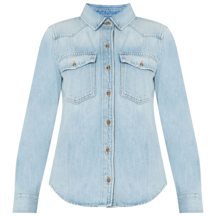Рубашка с длинными рукавами Frame Denim светло-голубая