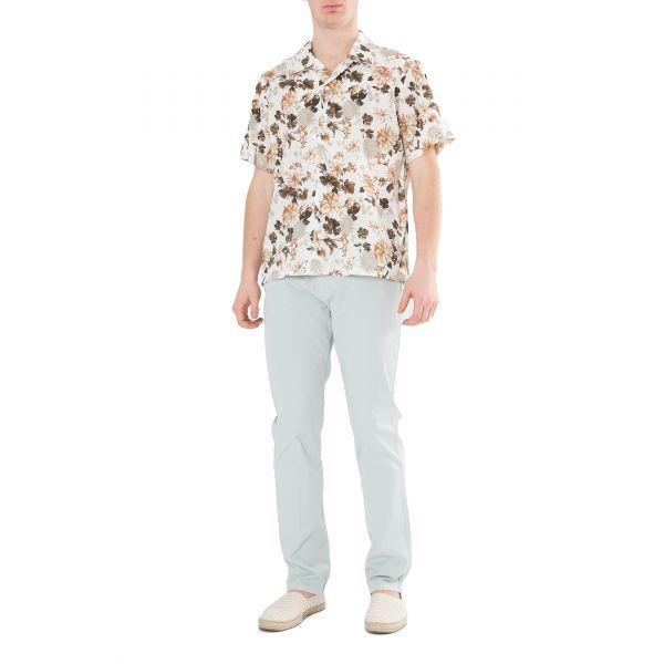 Рубашка с короткими рукавами Eleventy бело-коричневая