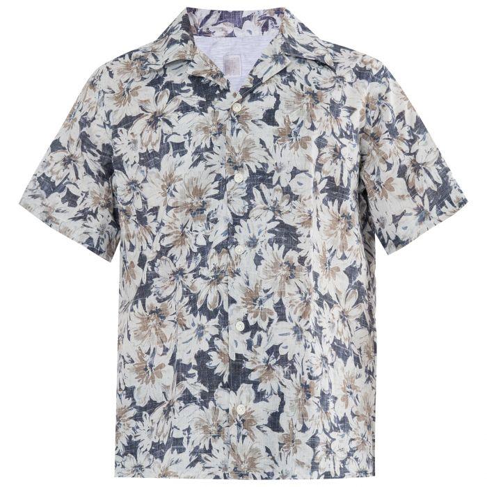 Рубашка с короткими рукавами Eleventy сине-белая