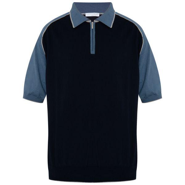 Поло Vallati черно-голубое