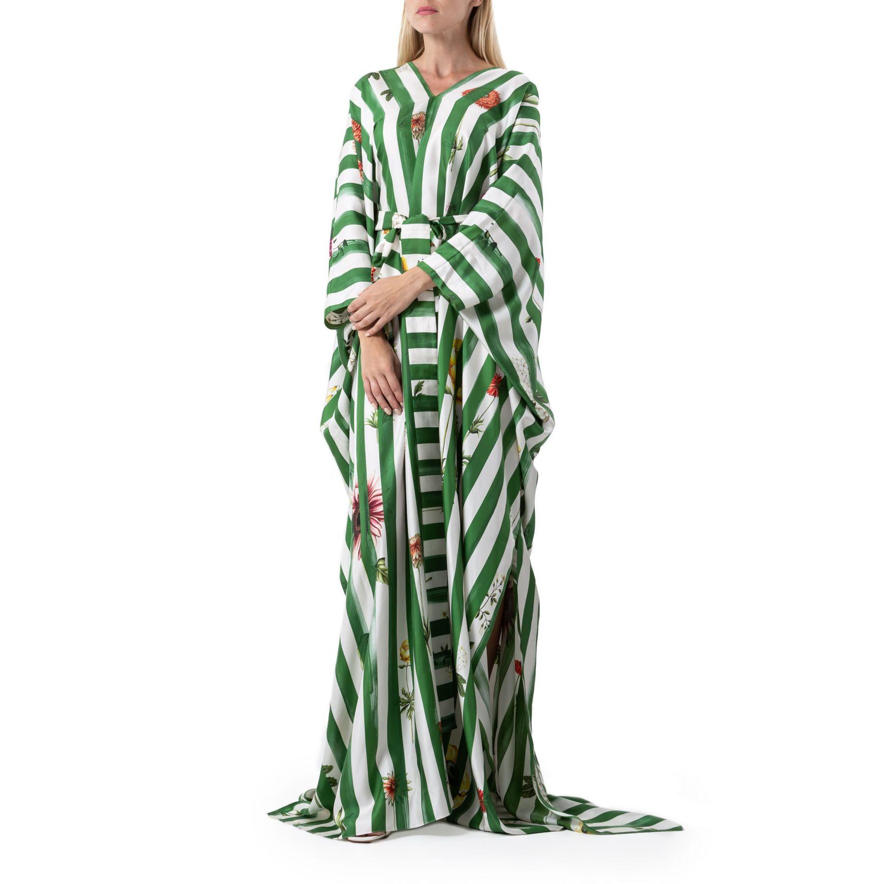 Кафтан Oscar de la Renta бело-зеленый