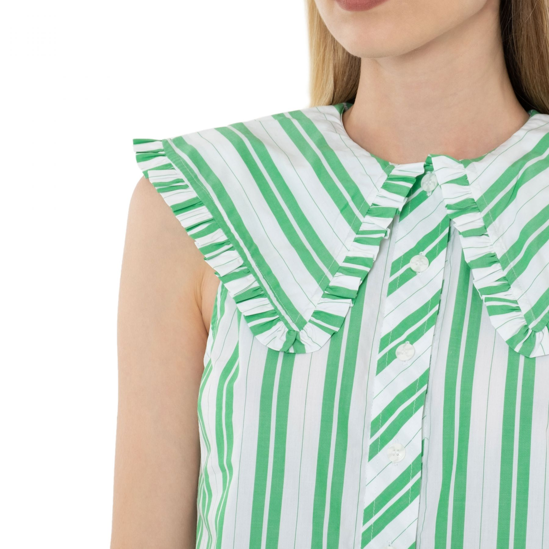 Рубашка с короткими рукавами Ganni зеленая