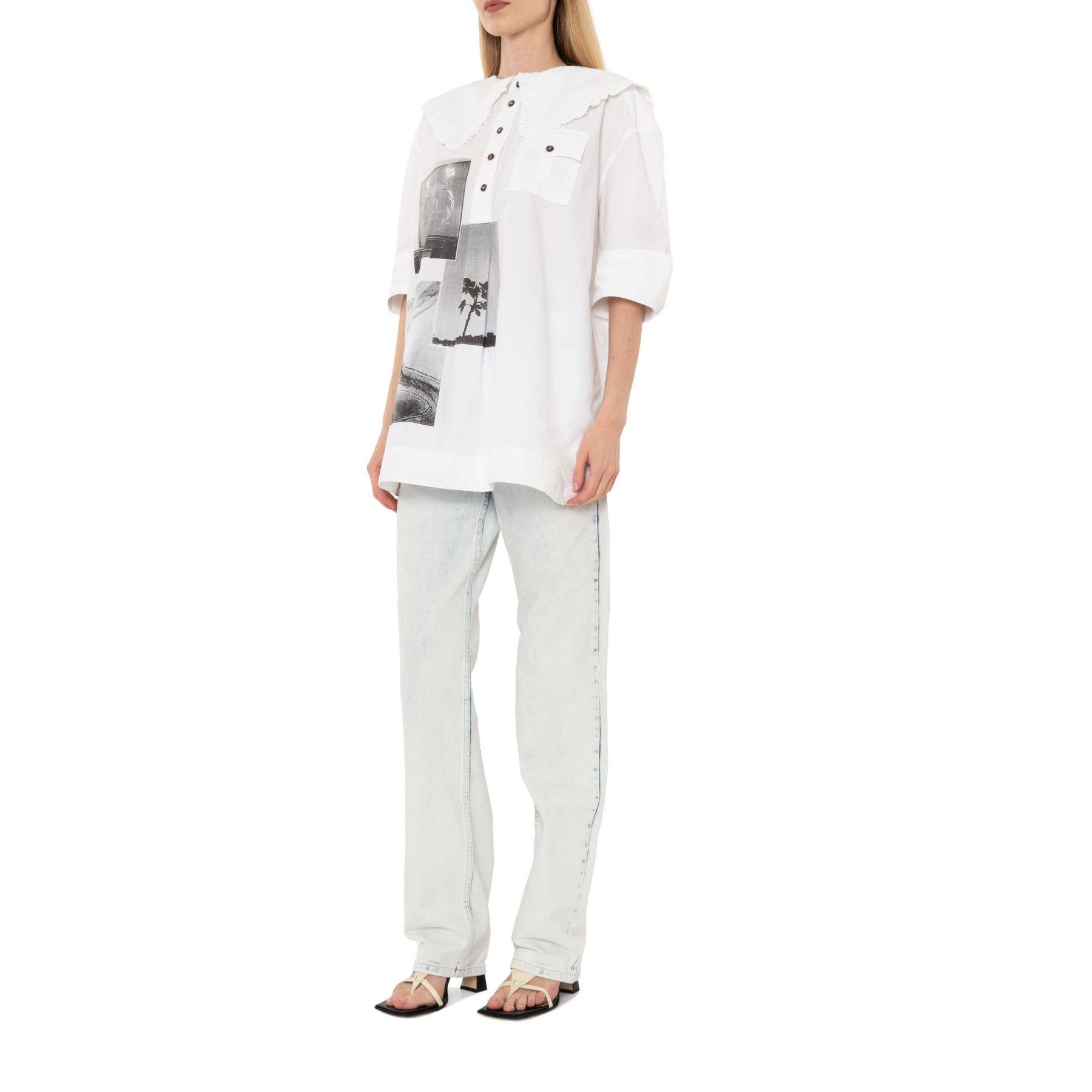 Рубашка с короткими рукавами Ganni белая
