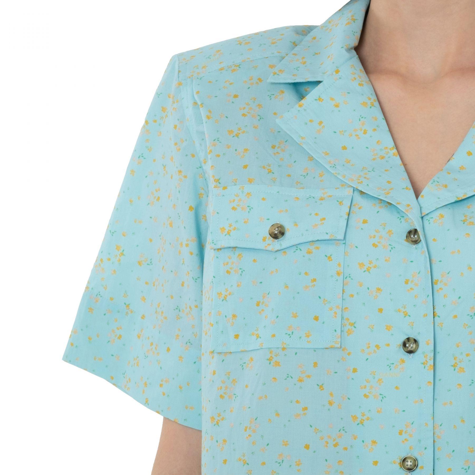 Рубашка с короткими рукавами Ganni голубая