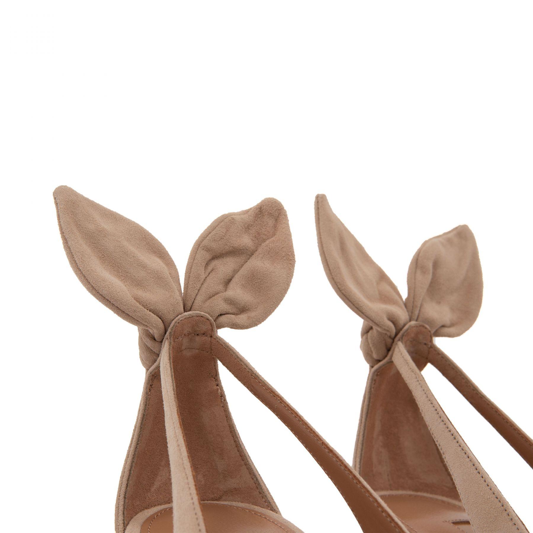 Туфли AQUAZZURA Bow Tie бежевые