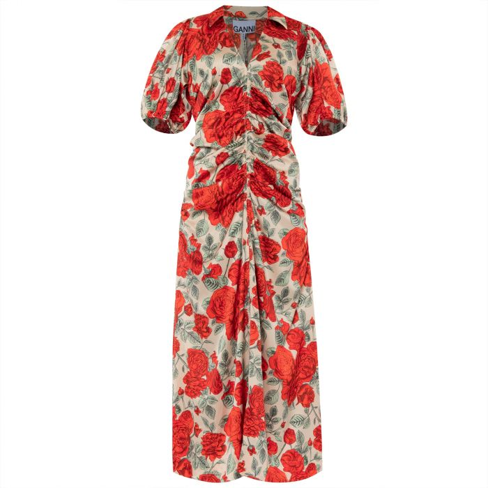 Платье Ganni красно-бежевое