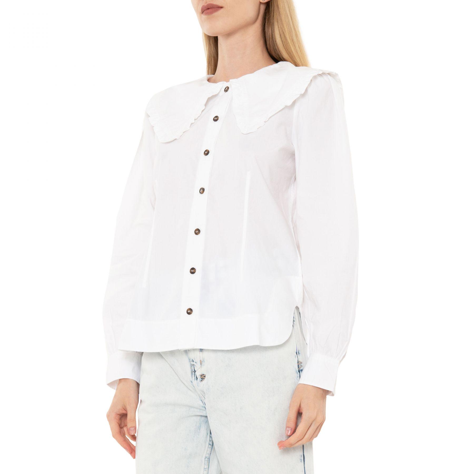 Рубашка с длинными рукавами Ganni белая