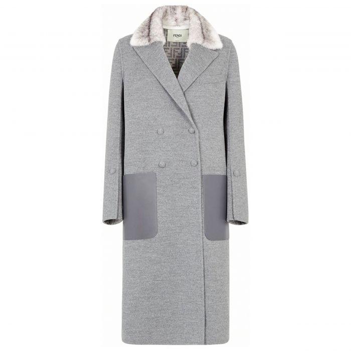 Пальто Fendi светло-серое