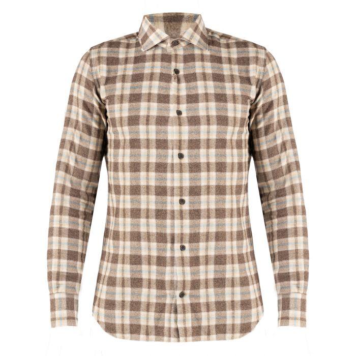 Рубашка длин.рук. Eleventy бежево-коричневая
