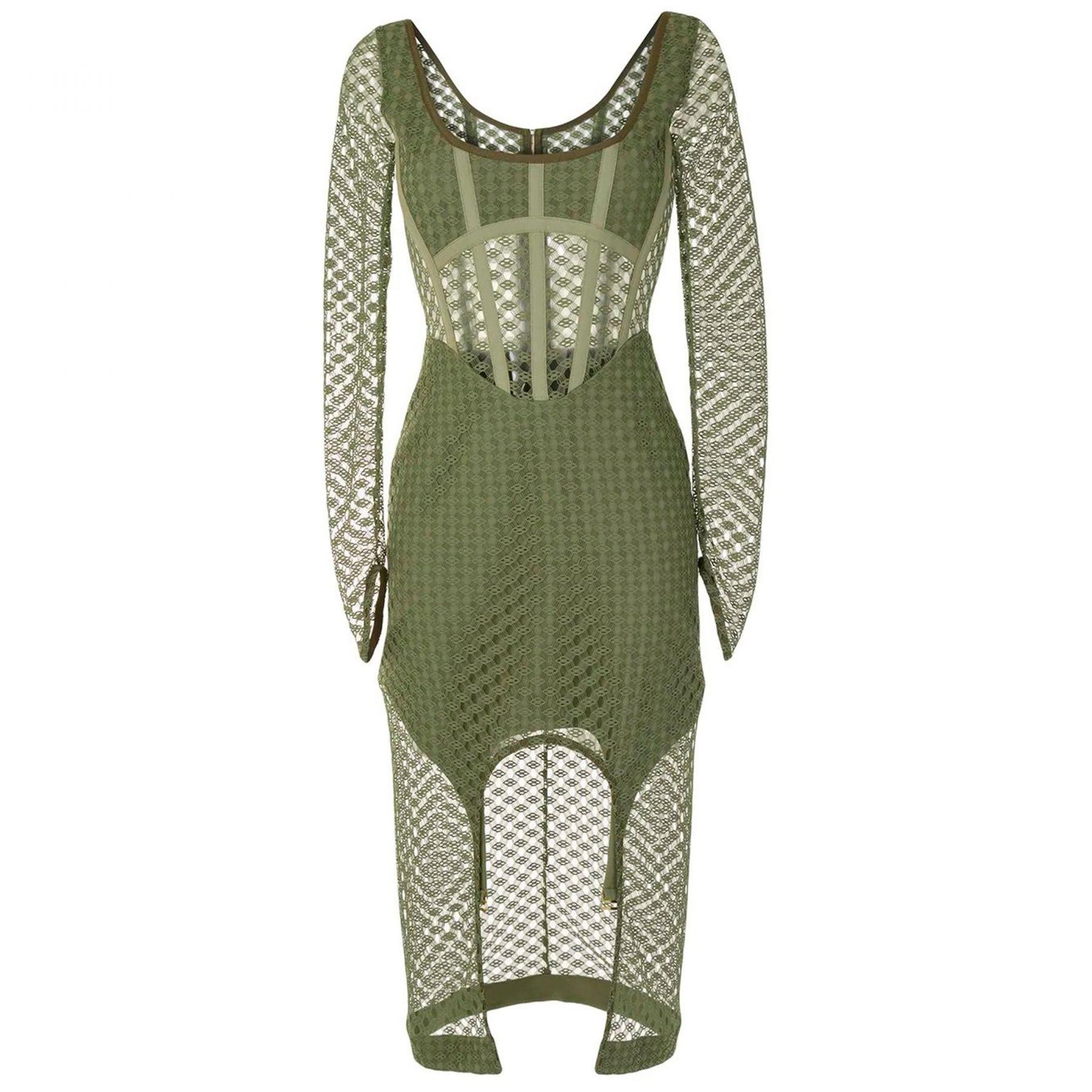 Платье Dion Lee оливковое
